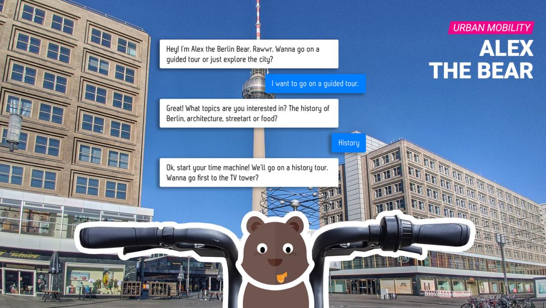 Alex, der Bär ist ein Urban Mobility Service der auf Voice User Interface setzt.